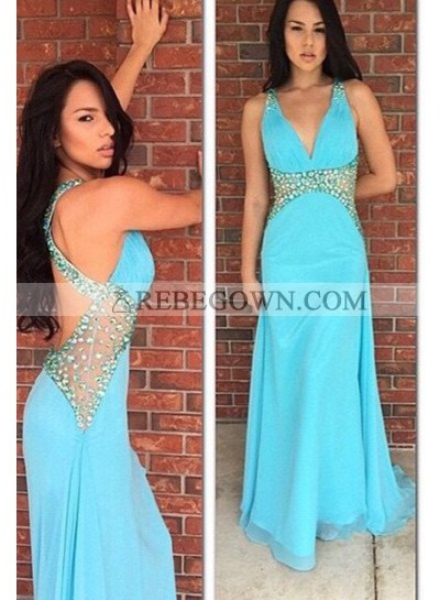 rebe gown 2021 Blue Beading Long Floor length Backless  Column/Sheath Chiffon Prom Dresses