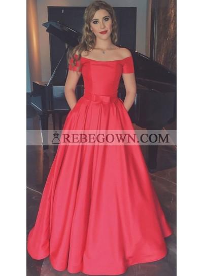 2021 Elegant Satin Princess/A-Line Off The Shoulder Red Prom Dresses