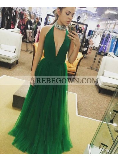 2021 Cheap Princess/A-Line Emerald Tulle V-neck Prom Dresses