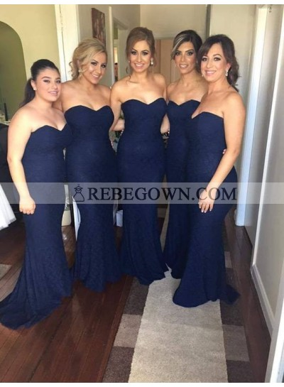 2020 Charming Mermaid  Dark Navy Lace Sweetheart Long Bridesmaid Dresses / Gowns