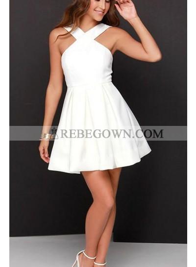 Short White Knee Length Satin Prom Drses