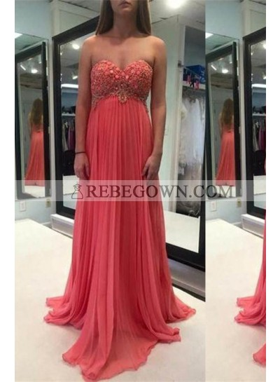 Crystal Sweetheart Empire Chiffon Water Melon Prom Dresses