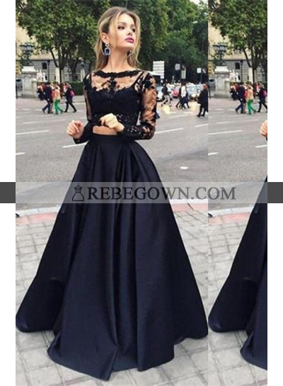 2020 Junoesque Black Illusion A-Line Satin Prom Dresses
