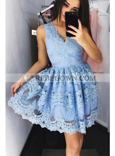 Blue Knee Length V-neck Short Prom Dresses With Appliques