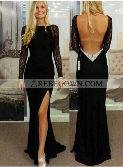 2020 Junoesque Black Sexy Split Front Backless Long Floor length Lace Prom Dresses