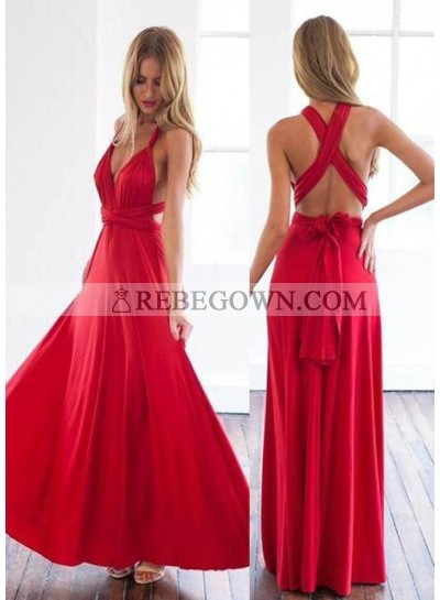 2021 Gorgeous Red Sash A-Line Stretch Satin Prom Dresses
