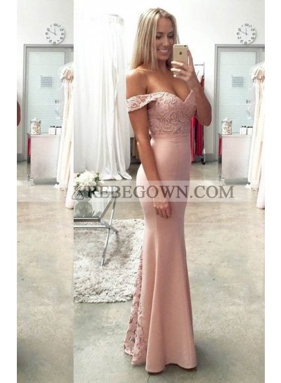 Lace Off-the-Shoulder Mermaid Satin Prom Dresses