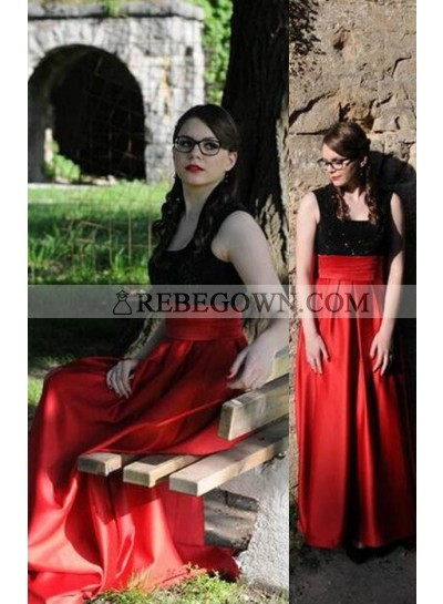 2021 Gorgeous Red Square Neck Long Floor length Satin Prom Dresses