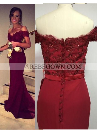 Burgundy Long Floor length Sweetheart A-Line Satin Prom Dresses