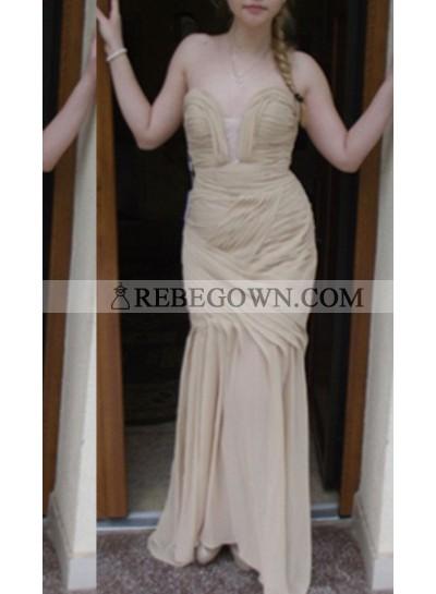 Ruching Long Floor length Column/Sheath Chiffon Prom Dresses