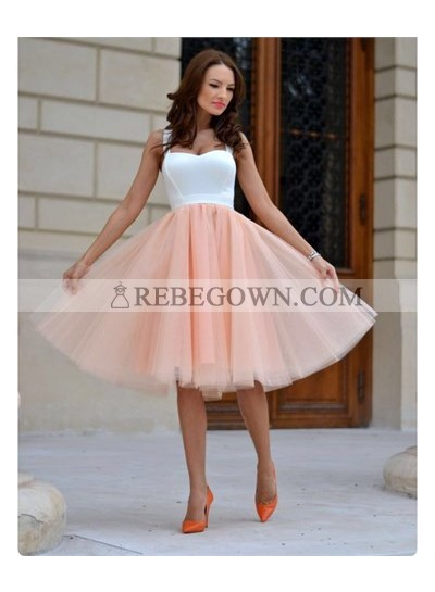 A-Line Straps Sleeveless Knee-Length Peach Homecoming Dress 2021 with Pleats