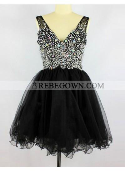A-Line Deep V-Neck Sleeveless Short Black Beading Homecoming Dress