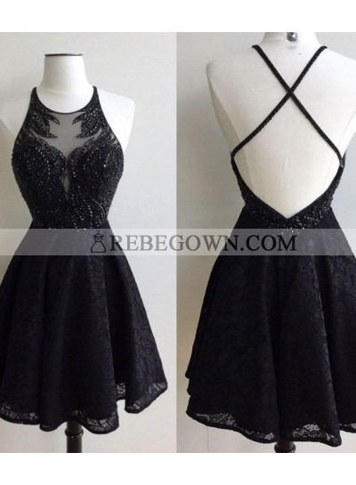 A-Line Jewel Backless Short Black Lace Homecoming Dress 2020 with Beading