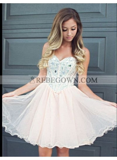 A-line Sweetheart Beading Pearl Pink Short Homecoming Dress