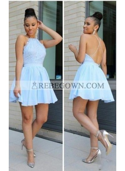 A-Line Jewel Sleeveless Backless Light Blue Lace Short Homecoming Dress