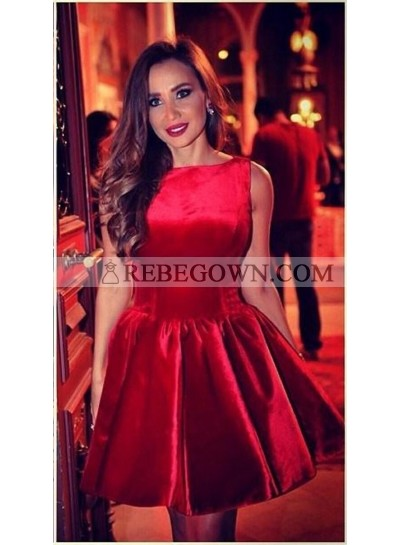 A-Line Bateau Sleeveless Above-Knee Red Satin Homecoming Dress 2020 with Ruched