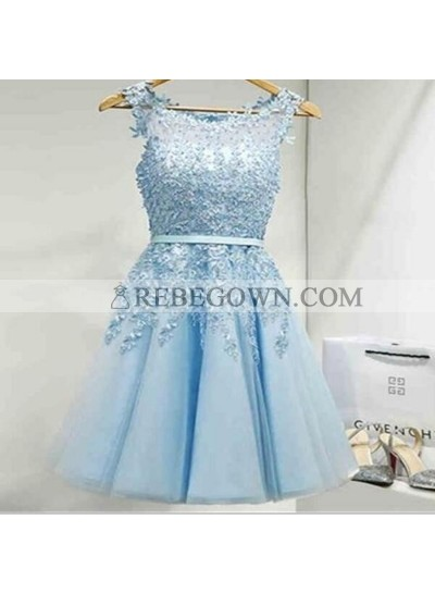 A-Line Jewel Light Blue Chiffon Short Homecoming Dress 2020 with Appliques Pleats
