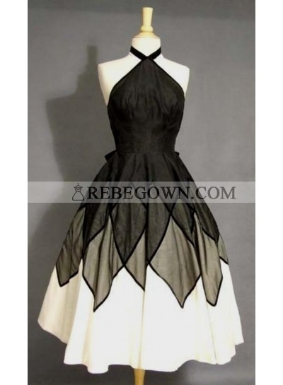 A-Line Halter Black Satin Short Homecoming Dress