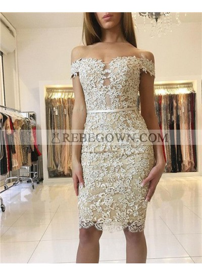 Sheath Off-the-Shoulder Knee-Length Light Champagne Lace Homecoming Dress 2021