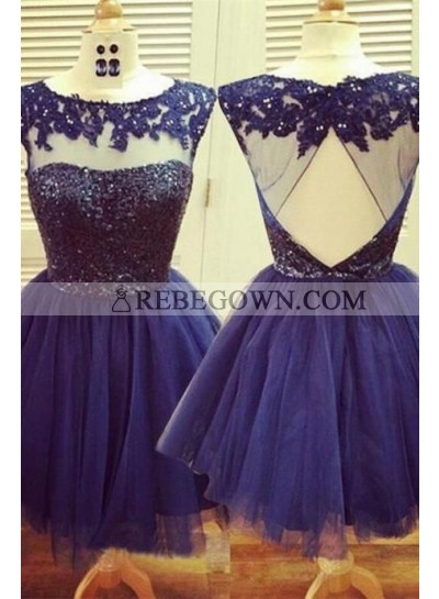 A-Line Jewel Open Back Navy Blue Tulle Short Homecoming Dress 2021 with Lace Beading