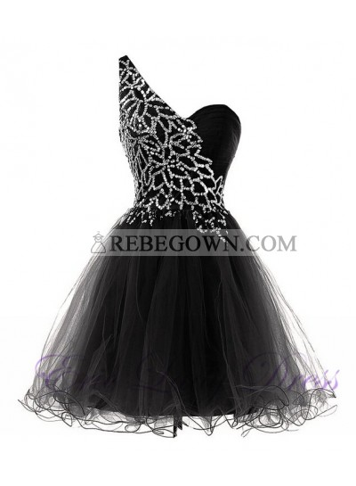 A-Line One-Shoulder Black Tulle Short Homecoming Dress 2021 with Sequins