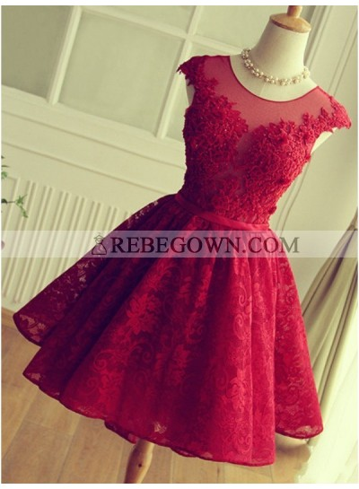 A-Line Jewel Cap Sleeves Red Lace Short Homecoming Dress 2020 with Beading