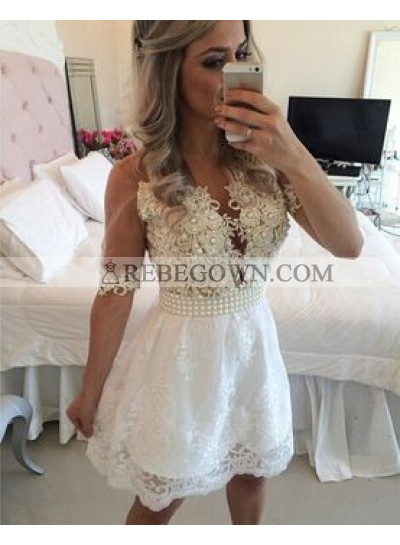A-Line V-Neck Half Sleeves White Lace Short Homecoming Dress 2021 with Appliques Pearls