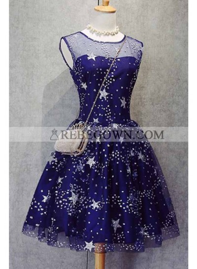 A-Line Scoop Royal Blue Tulle Short Homecoming Dress 2021 with Appliques