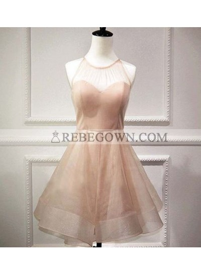 A-Line Jewel Pearl Pink Organza Bowknot Short Homecoming Dress 2020 with Open Back