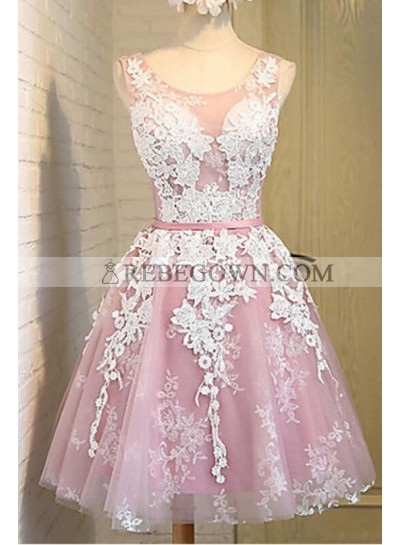 A-Line Scoop Lace-Up Pink Tulle Short Homecoming Dress 2021 with Lace