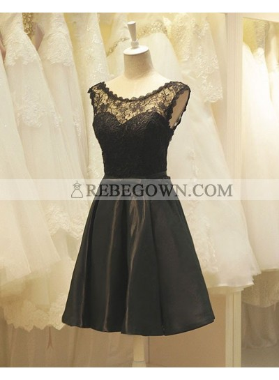 A-Line Crew Neck Black Satin Homecoming Dress 2020 with Lace
