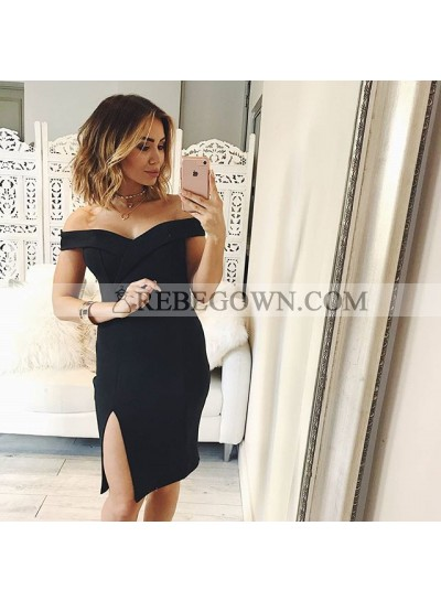 Bodycon Off-the-Shoulder Split-Side Black Homecoming Dress 2020