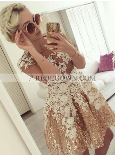 A-Line Jewel Half Sleeves Champagne Appliques Homecoming Dress 2020