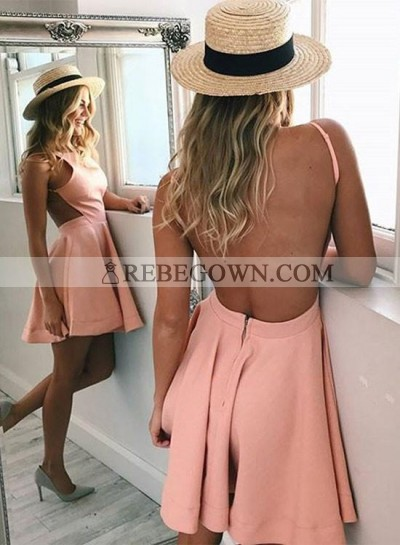 A-Line Crew Neck Backless Pink Satin Homecoming Dress 2021
