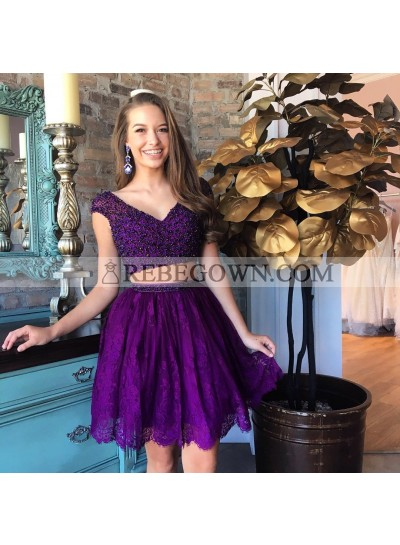 Two Piece V-Neck Beading Purple Homecoming Dress 2021 with Lace