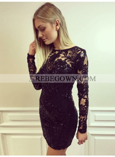 Bodycon Jewel Long Sleeves Lace Little Black Dress