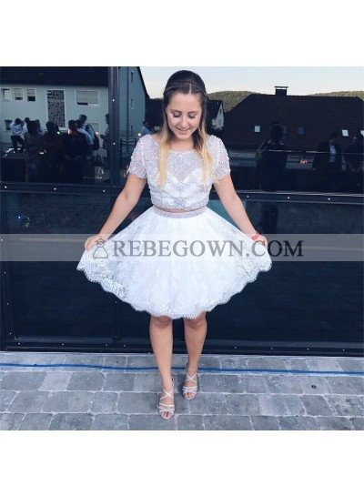 Two Piece Round Neck White Homecoming Dress 2021 with Beading Lace