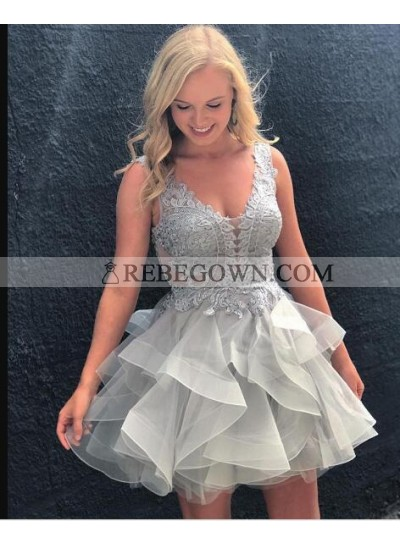 A-Line Scoop Backless Appliques Gray Organza Homecoming Dress 2021