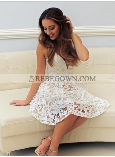A-Line V-Neck Short White Lace Homecoming Dress 2021