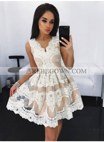 A-Line V-Neck Appliques White Homecoming Dress 2021