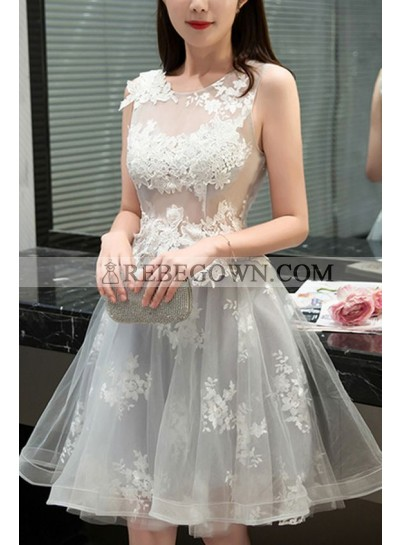 A-Line Jewel Sleeveless Light Gray Tulle Homecoming Dress 2020 with Appliques
