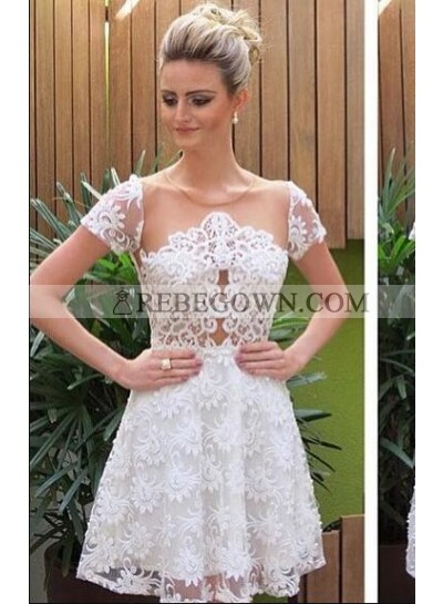 A-Line Jewel Short Sleeves White Lace Homecoming Dress 2020 with Illusion Back