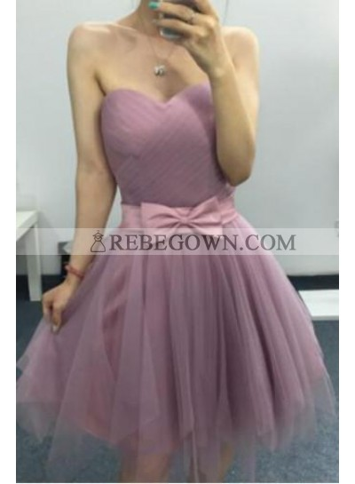 A-Line Sweetheart Above-Knee Purple Tulle Homecoming Dress 2021 with Bowknot