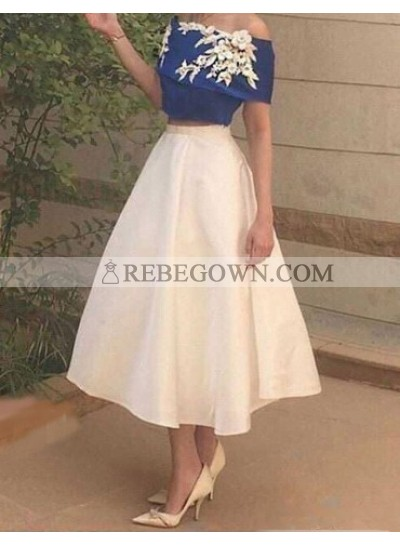A-Line Off-the-Shoulder Tea-Length White Satin Homecoming Dress 2021 with Appliques