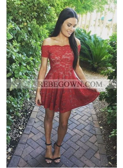 A-Line Off-the-Shoulder Short Sleeves Short Red Lace Homecoming Dress 2020