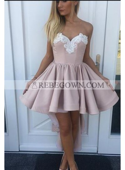 A-Line Sweetheart High Low Blush Homecoming Dress 2021 with Appliques