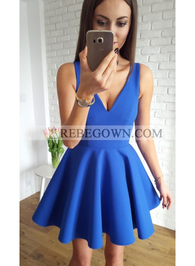 A-Line V-Neck Short Royal Blue Homecoming Dress 2021 with Ruched