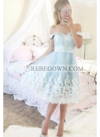 A-Line Off-the-Shoulder Short Blue Homecoming Dress 2020 with Appliques