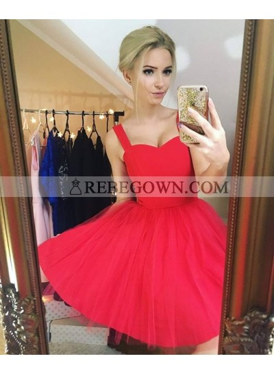 A-Line Straps Sleeveless Short Red Tulle Homecoming Dress 2021