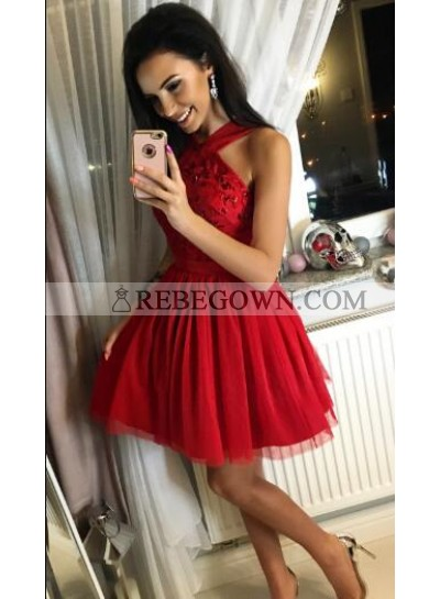 A-Line Cross Neck Short Red Tulle Homecoming Dress 2021 with Beading